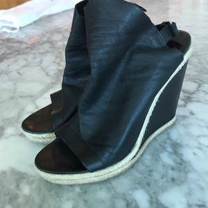 Balenciaga black leather wedge